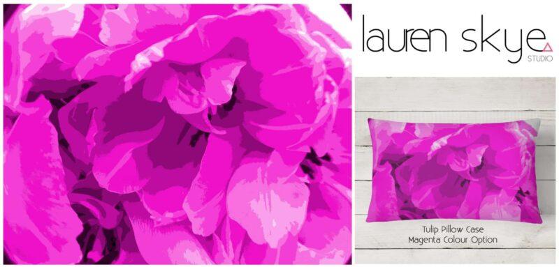 Lauren Skye Studio Magenta Tulip mockup custom cushion cover design