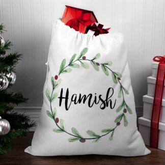 Personalised Santa Sack - Mistletoe Wreath