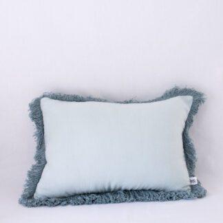 Spearmint/Sage Fringed Linen Cushion