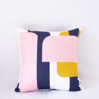 Mod Lines II Linen Cushion - Pink/Mustard/Navy