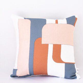 Mod Lines II Linen Cushion - Rust/Pink Salt/Slate